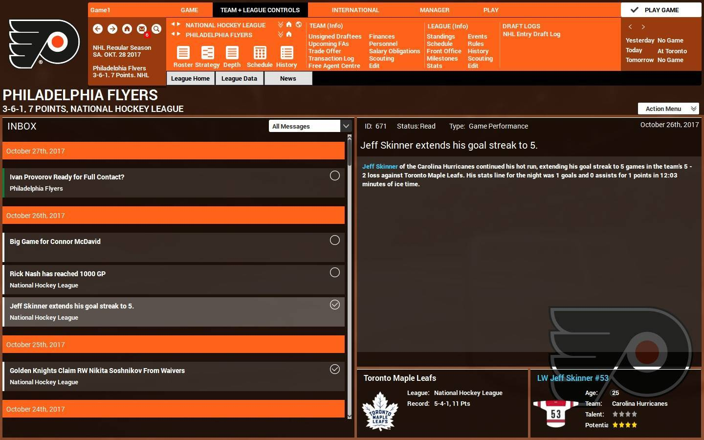 franchise hockey manager how to go on