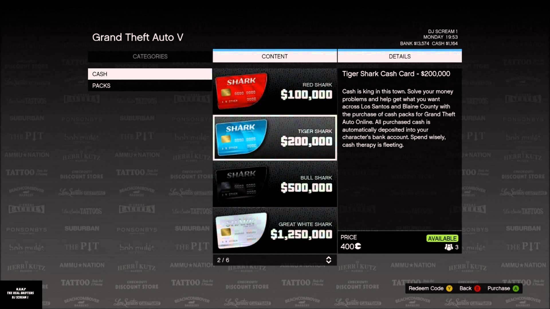 gta online - great white shark cash card (xbox one)